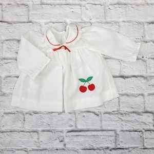 Vintage Healthtex White Top Red Cherry Fruit Patch